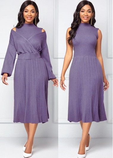 Long Sleeve Top and Pleated Hem Sweater Dress - 2XL