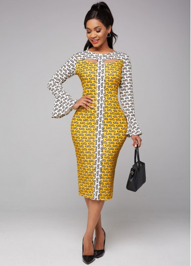 Flare Sleeve Printed Cutout Front Dress - L