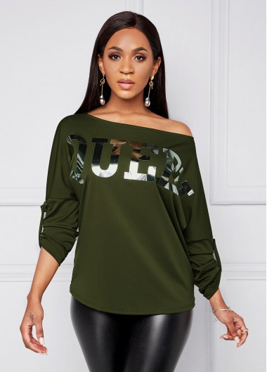 Hot Stamping Letter Long Sleeve T Shirt - 2XL