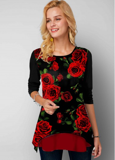 Red Rose Print Round Neck Long Sleeve T Shirt - L