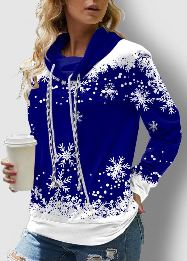 Drawstring Snowflake Print Long Sleeve Sweatshirt - L