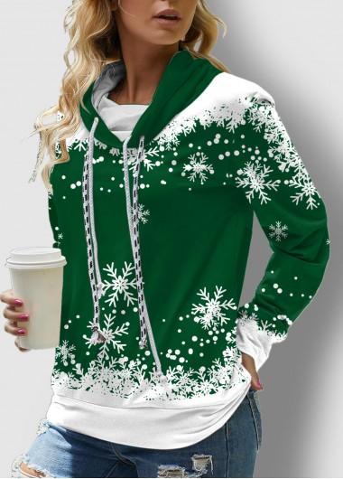 Snowflake Print Long Sleeve Drawstring Sweatshirt - L