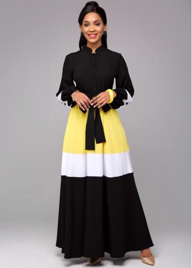 Contrast Long Sleeve Tie Front Dress - L