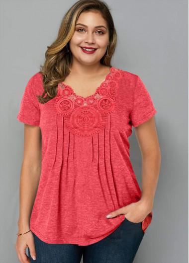 Plus Size Crinkle Chest Short Sleeve T Shirt - 1X