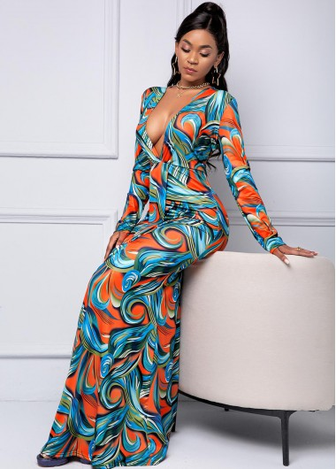 Plunging Neck Printed Ruched Maxi Dress - 2XL