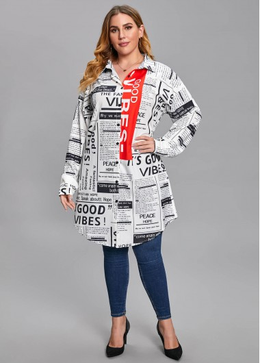 Plus Size Newspaper Print Long Sleeve Blouse - 2XL
