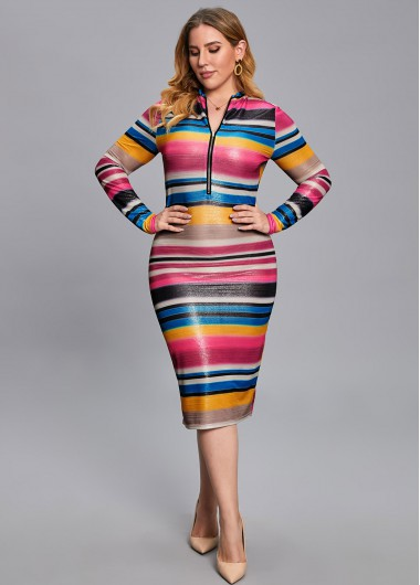 Plus Size Rainbow Stripe Quarter Zip Dress - 2XL