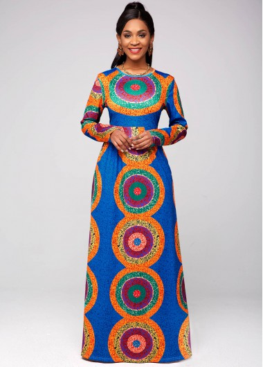 Tribal Print Round Neck Long Sleeve Dress - 2XL