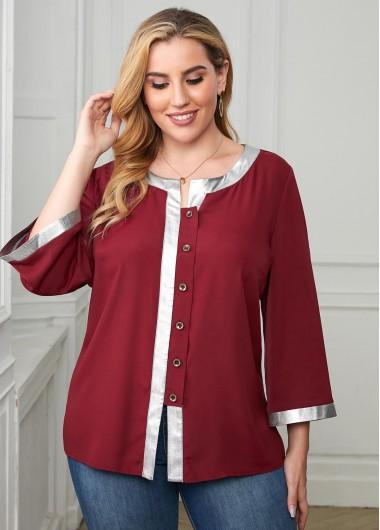 Plus Size Contrast Button Front Blouse - 1X