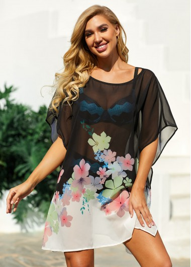 Floral Print Side Slit Black Cover Up - L