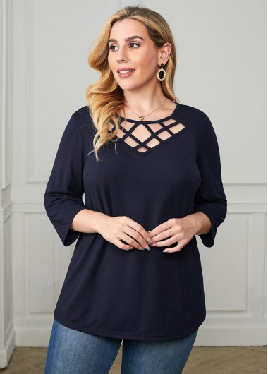 Plus Size Lattice Front 3/4 Sleeve T Shirt - 1X