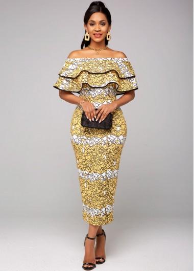 Printed Off Shoulder Ruffle Overlay Dress - L