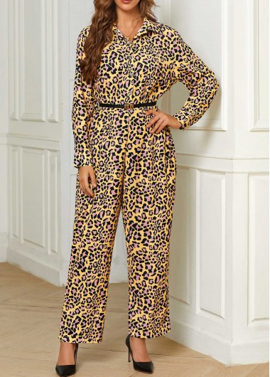 Leopard Belted Button Front Turndown Collar Jumpsuit - 2XL