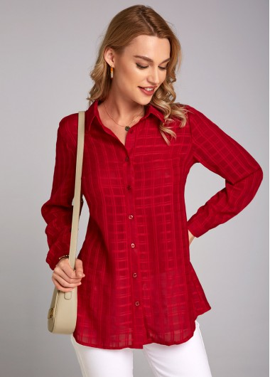 Wine Red Jacquard Plaid Long Sleeve Turndown Collar Blouse - L