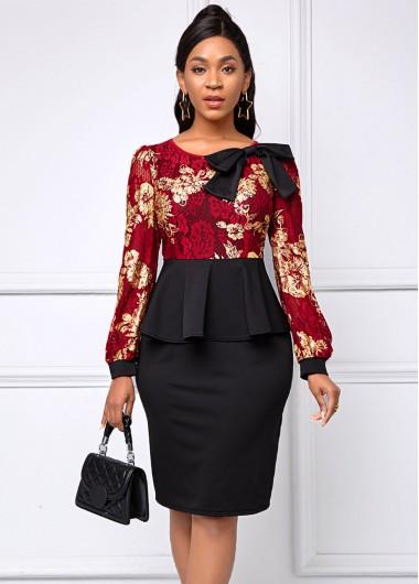 Lace Panel Bowknot Floral Print Dress - L