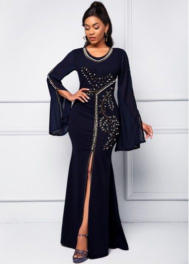 Pearl Flare Sleeve Front Slit Dress - 2XL