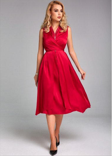 Quarter Zip Sleeveless Tie Back Dress - L