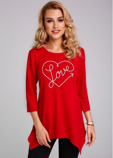 Heart and Letter Print Asymmetric Hem 3/4 Sleeve T Shirt - L