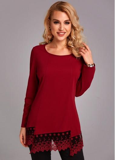 Lace Panel Long Sleeve Asymmetric Hem T Shirt - L