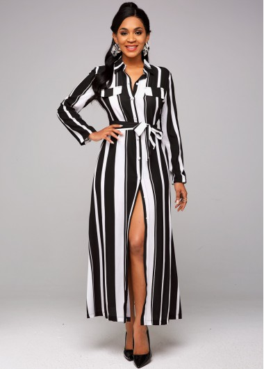 Striped Belted Button Up Maxi Dress - L
