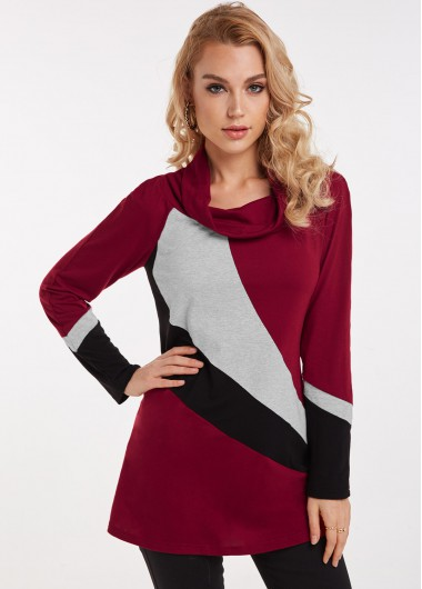 Cowl Neck Wine Red Contrast Long Sleeve Tunic Top - L