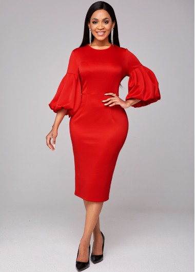 Round Neck Puff Sleeve Red Bodycon Dress - L