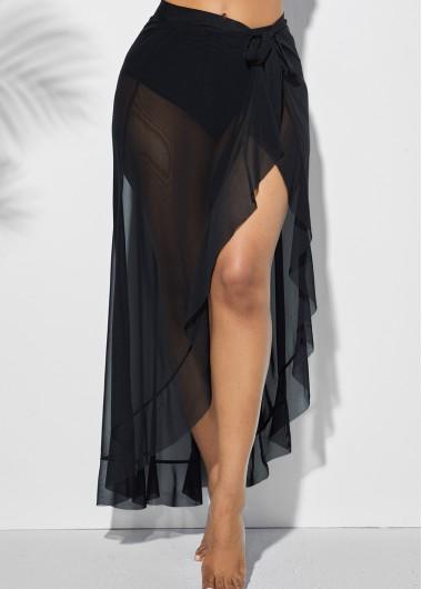 Side Slit Asymmetric Hem One Piece Skirt - L