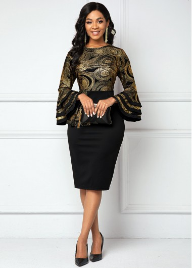 Layered Bell Sleeve Printed Round Neck Dress - L