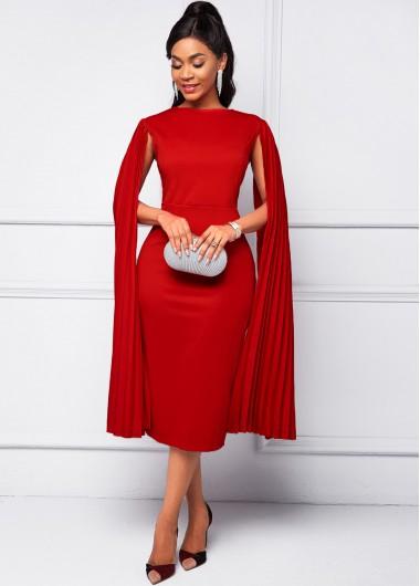 Cape Sleeve Red Round Neck Bodycon Dress - 2XL