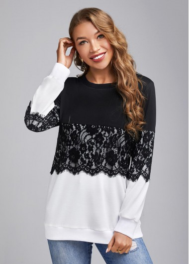 Black&White Lace Stitching Round Neck Long Sleeve Sweatshirt - L
