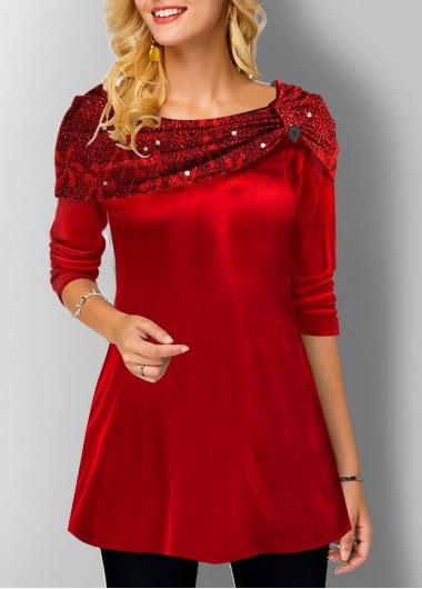 Velvet Stitching Long Sleeve Tunic Top - L