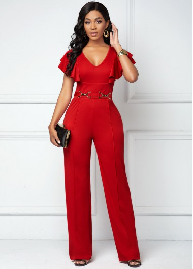 Women Sexy Butterfly Sleeve Deep V Neck Red Office Lady Elegant Jumpsuit - L