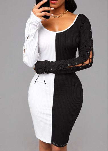 Color Block Lace Up Sleeve Bodycon Dress - L