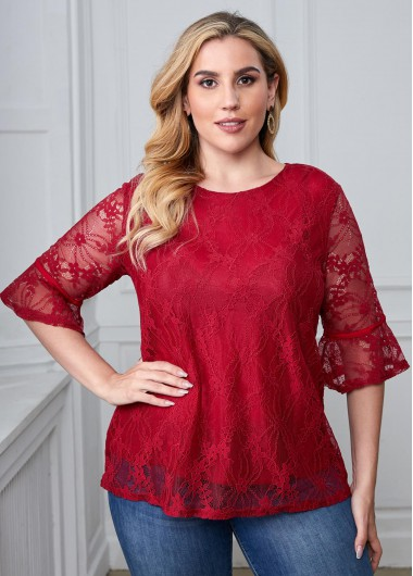 Plus Size Lace Stitching Round Neck T Shirt - 3XL