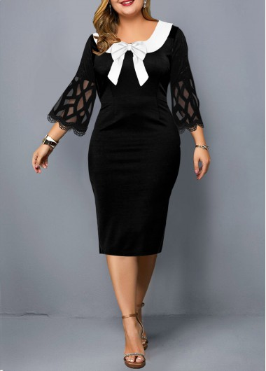 Plus Size Bowknot Mesh Sleeve Dress - 1X