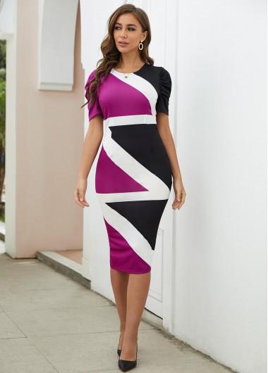 Contrast Round Neck Short Sleeve Bodycon Dress - L