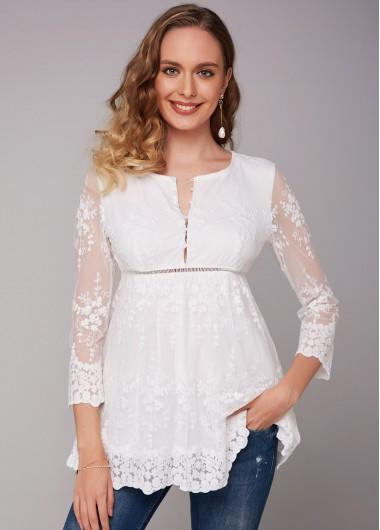 Lace White Button Detail 3/4 Sleeve Blouse - L