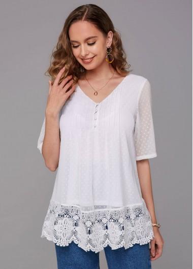 Lace Stitching V Neck Half Sleeve Blouse - L