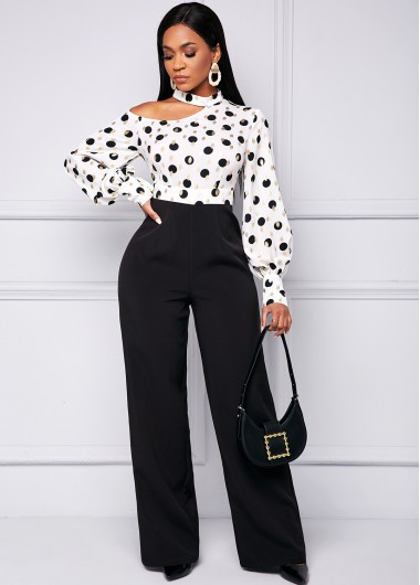 Lantern Sleeve Polka Dot Loose Jumpsuit - L