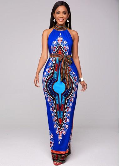 Dashiki Print Belted Bib Neck Maxi Dress - L