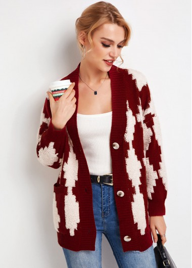 Contrast Button Up Long Sleeve Cardigan - S