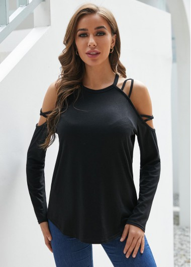 Cold Shoulder Long Sleeve Black T Shirt - 2XL