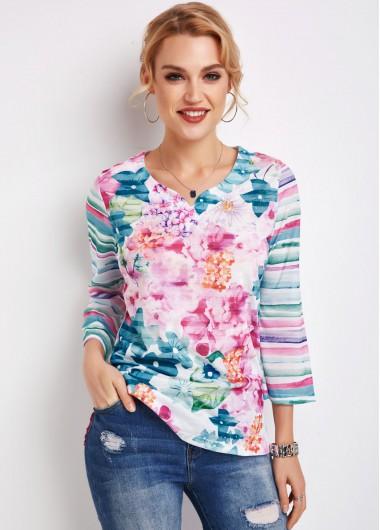 Floral Print Side Slit 3/4 Sleeve T Shirt - 2XL