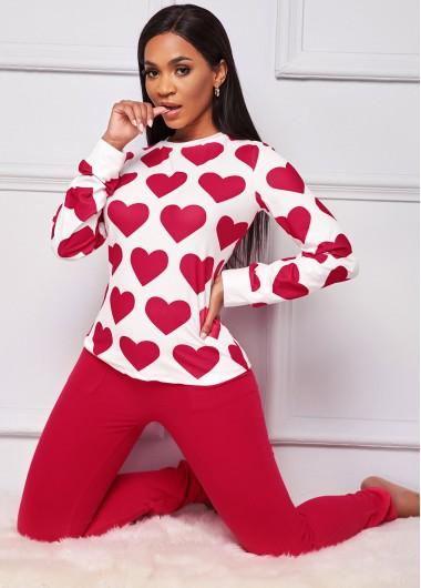 Heart Print Round Neck Long Sleeve Loungewear Set - 2XL