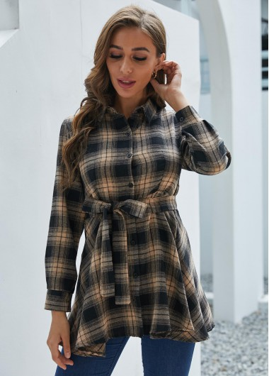 Belted Plaid Button Up Turndown Collar Blouse - 2XL