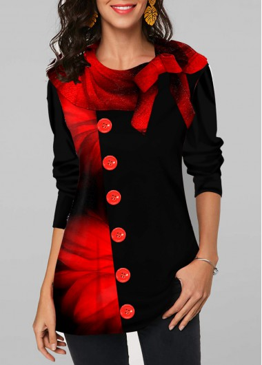 Bowknot Red Flower Print Long Sleeve Tunic Top - L
