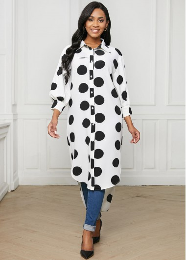 Black Polka Dot Button Up Lantern 3/4 Sleeve Long Blouse In White - L