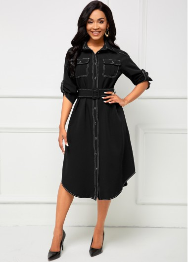 Pocket Turndown Collar Contrast Stitch Dress - L