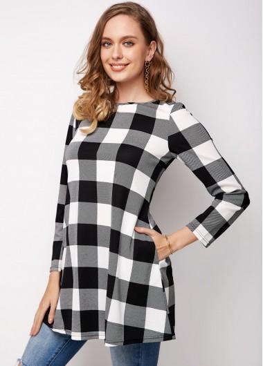 Plaid Long Sleeve Round Neck Pocket T Shirt - L