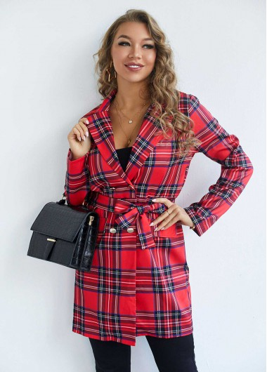 Plaid Double Breasted Turndown Collar Dress - L
